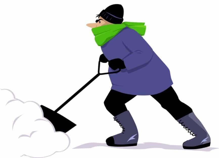 Snow shoveling person
