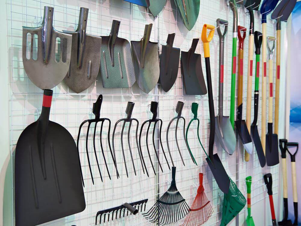 Shovels and forks in the hardware store