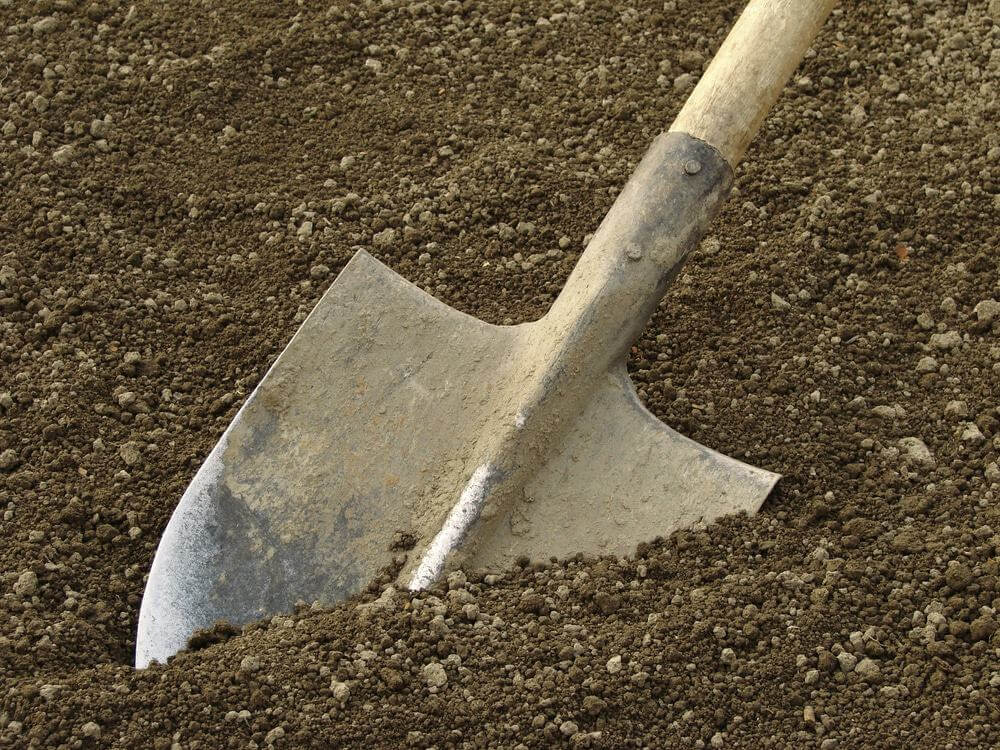 spade ready to prepare vegetable bed for sowing
